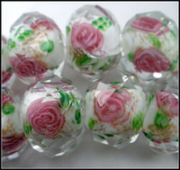 green leaves - MIC Pink Flower And Green Leaves Inside Faceted Rondelle White Glass Beads MM1