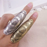 Wholesale Promotional Retro Jewelry Punk Style Ancient Religious Totem Long Bone Joint Knuckle Carved Ring