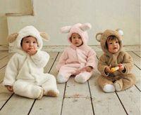 al por mayor ropa de lana polar-Estilo de otoño y el invierno ropa de bebé Ropa de bebé polar de coral Animal ropa del mameluco mono del bebé