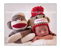 Wholesale New Style crochet baby hat children cotton Striped Beanies with ear boys animal hat girl s cap
