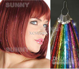 Wholesale 24 quot Glitz Sparkling Feather Tinsel Hair Extensions D Shinny Hair Extension strands