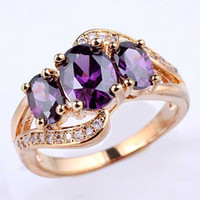 With Side Stones amethyst engagement ring - Women s Egg Stone Purple Amethyst Gold Finish S925 Sterling Silver Ring NAL R094