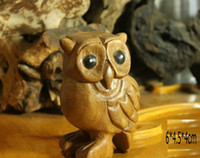 Wholesale Natural Wood Carving Hand Craft Wooden Owl Statue Figurine Home Decor