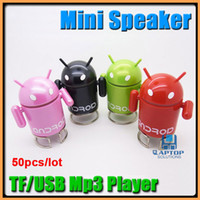 Wholesale Multi function Android Robot Style TF Card Slot Rechargeable FM MP3 Player Speaker for PC iPhone