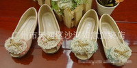 Wholesale 2013 Girl Leather Shoes Lace Flower Boat Shoes PU Step In Footwear Elastic Bands Princess Shoes