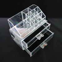 Hasp acrylic drawing box - 24sets Clear Acrylic Two Draw Cosmetic Jewellery Organizer Makeup Box Case SF