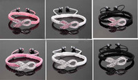 South American Unisex Party low price 100pcs* Crystal Pink Ribbon Breast Cancer Awareness Bracelet Fine Gift