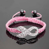 Wholesale 10pcs Pink Rhinestone Crystal Ribbon Charms Breast Cancer Awareness Macrame Adjustable Bracelets