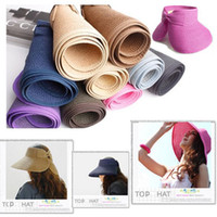 Wholesale 50 Colors Womens Foldable Beach Sun Visor Wide Brim Hat Cap Brand New