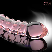 Wholesale Art Pink Crystal Glass Dildo with Bumps Strap on Sex Toys Dildo for Female S006