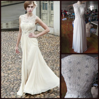 Wholesale 2013 Chiffon Round Neck Lace Beading Natural Beige Floor length A line Evening Dresses prom dresses