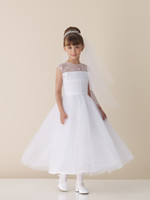 Wholesale Unique Design A Line Tea Length Sleeveless White Organza Appliques Beaded Wedding Flower Girl Dress