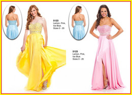Wholesale 2015 Yellow Strapless A line Beaded Crystal Ruffles Long Prom Evening Dresses Dress Gowns Wow