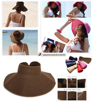 Wholesale Collapsible Sun Hat Visor Straw Hats Horn Cap Summer Hat Sunscreen Caps Visors
