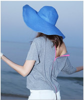 Blue folding straw hat - Qltrade_2 women Folding straw hat sun hat along the beach cap blue colour