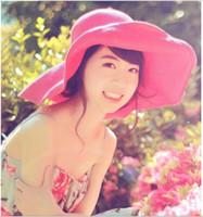Wide Brim Hats folding straw hat - Qltrade_2 women Folding straw hat sun hat along the beach cap red colour