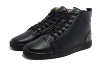 Lace-Up Men Spring and Fall 2013 Man Causal Shoes High-Top Lace-up Flat Shoes Black Genuine Leather Sneaker Shoes