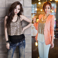 Wholesale 2013 Women s Lady Crew Neck Vintga Sequin T Shirt Sleeveless Tops Vests Camisole