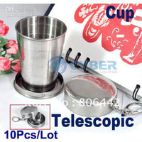 Wholesale 10Pcs Tourism Supplies Outdoor Camping And Stainless Steel Foldable Cup Telescopic Cup Magic T