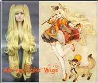 Wholesale New Vocaloid seeu Blonde Long Curly Hair Anime Clip on pigtails Party Cosplay Wig Costume