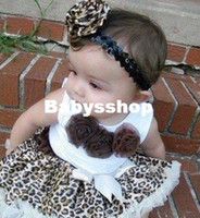 Wholesale Baby suit sleeveless top with three flowers leopard tutu Brown baby girl dress