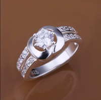Wholesale Fashion the Top Jewelry silver inlaid zircon Ring engagement gift jewelry