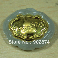Wholesale 1pcs Natural Jade Kt Gold Pendant Necklace Gourd Baby Lock On the back is Ruyi design