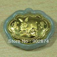 burma natural jade - Genuine Gold With Inlaid Burma Natural Jade Jadeite Zodiac Rabbit Pendant Necklace Fugui