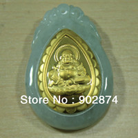 Wholesale 1pcs Jade Jadeite Kt Gold Pendants Maitreya Buddha Fine Charms decorations Mascot Solitaire