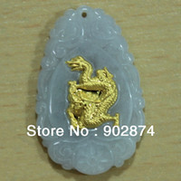 Unisex zodiac charms - 12pcs new hot Pendants Natural Grade A Jade With Inlaid k Yellow Gold Animal Zodiac Charms