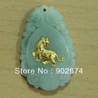 Pendant Necklaces burma natural jade - Natural Burma Grade A Jade Jadeite kt Gold Small Tiger Zodiac Pendant Fine Charms Fashion