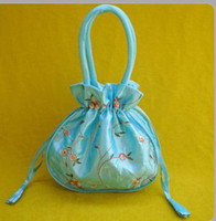 Wholesale Cheap Handbags Purses Embroidered Silk Fabric Big Drawstring Bag mix color Free