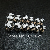 Wholesale New Hot Small MOQ mixed gauges stainless steel football print screw on ear Tunnel