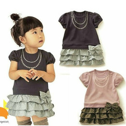 Wholesale QZ hot sell baby pure cotton dress cute girl bowknot Layered dress summer kid