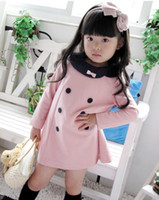 Wholesale New Spring and Autumn girls double breasted dress children princess dress bowfree shi