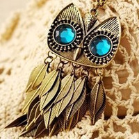 Pendant Necklaces   New owl head+leaf tassel vintage charm NECKLACE Necklaces Fashion Jewelry Alloy cute necklace AAA