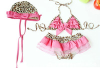Wholesale Girl s swimsuits Princess Leopard Bikini swim suit Girl s Bikini swim skirts hat sets