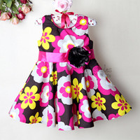 Wholesale 2013 wholesaler pink Christmas girl Dresses with flower children Dresses for girls