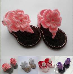 Wholesale 15 off Lovely flowers toddler shoes Crochet baby sandals baby gladiator sandals pairs