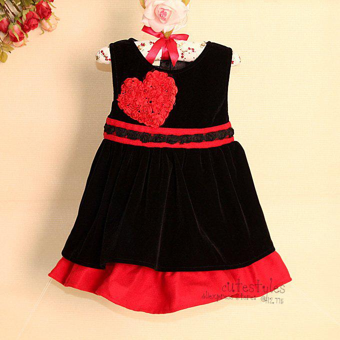 2017 Chirstmas Winter Baby Girl Dress Black Corduroy Infant Formal ...