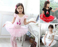 Wholesale kids toddler girls baby trim short sleeve print Shoes Tights ballet dress dance wear