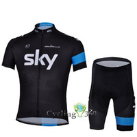 Wholesale Pro team black sky cycling jersey and cycling shorts C35 cycling wear