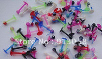Wholesale UV Acrylic Straight Barbell Labret Rings Nipple Tongue Lip Stud Ring Body Piercing Jewelry Ring