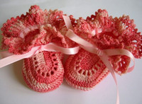 Crochet Shoes baby doll booties - 10 OFF NEW ARRIVAL Crochet Baby Booties Shaded Pink Ruffles for Newborn or neborn Doll pairs