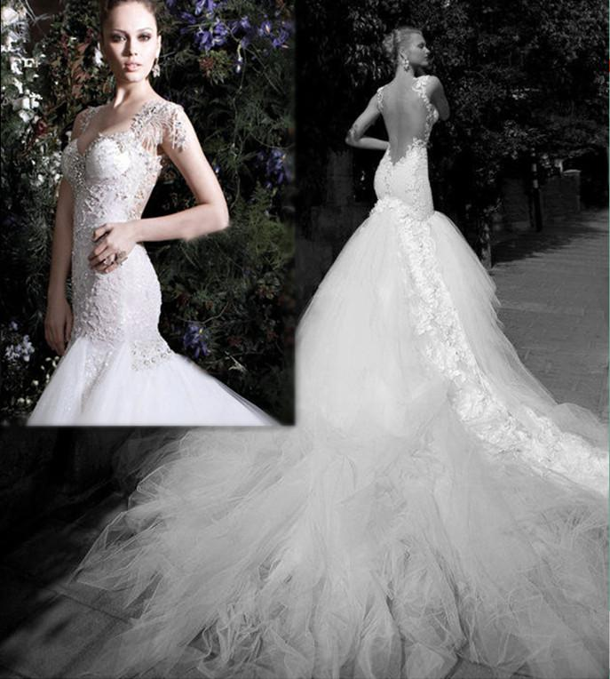 Luxury Newtulle Train Glamorous Mermaid Wedding Dresses Lace ...