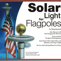 Wholesale 10 LED Solar Powered Garden Decor Light Top Flag Pole Flagpole Landscape Light