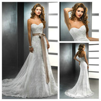 Wholesale Luxuriant Sweetheart Applique and Sash Ivory Lace Sheath Latest Dress Designs Photos Fashion