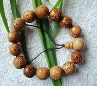 Chinese General General 1pc - Wooden Bangles -WBB02- Peach wood Beads Bangles - Woodcarving - Unisex - Handicraft