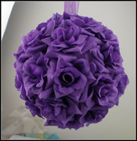 Wholesale New Purple Rose Kissing Ball Wedding Flower Decoration quot or quot Wedding Bouquet For flower girl