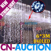 Wholesale 6Mx3M White LED Lighting LEDs curtain lights Lamp Background Light Christmas Light CN LHL7